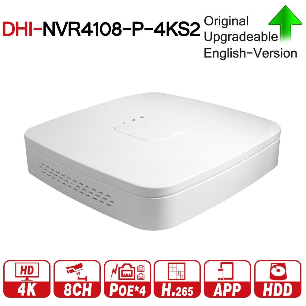 DH NVR4108-P-4KS2 con logo originale 8 Channel Astuto 1U 4PoE 4 k e H.265 Lite Registratore Video di Rete Full HD fino A 8MP Risoluzione