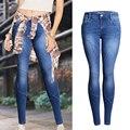 2016 Slim Fit Средний Талия Skinny Jeans Для Женщин Pantalons Mujer Креста Плиссированные Стрейч Джинсы Femme Карандаш Джинсовые Брюки #161515