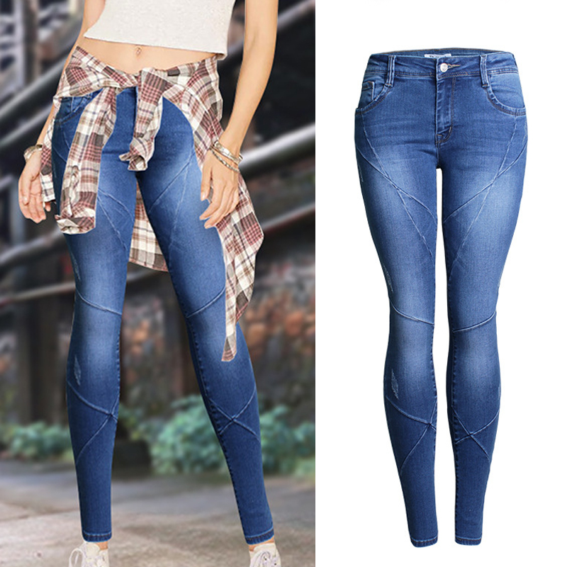 2017 Slim Fit Mid Waist Skinny Jeans For Women Pantalons Mujer Cross Pleated Stretch Jeans Femme Pencil Denim Pants #161515