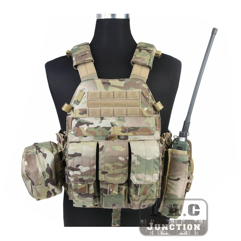 EmersonTactical Airsoft Vest Modular MOLLE LBT 6094A Plate Carrier with Triple Mag Pouches Radio Pouch Accessories