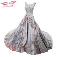 AnXin SH Princess Grey Flower Evening Dress Taffeta Flower Grey Evening Dress Court Train Grey Evening