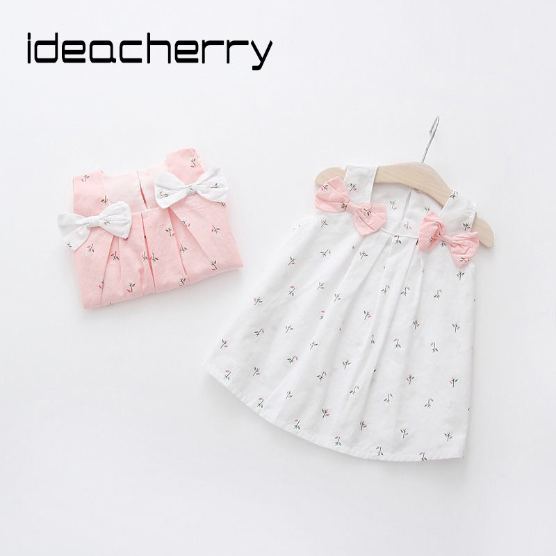 ideacherry Baby Girl Dresses Summer Solid Color Shoulders Bowknot Princess Dress Cute Sweet Girl's Flower Printing Beach Dresses
