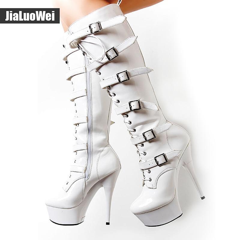 15 centímetros de Ultra Saltos Altos Na Altura Do Joelho-Botas Altas Do Punk Ferrolho Botas de Zíper Lateral Sapatos Fivelas 4 CENTÍMETROS Plataforma de Moda gótico Alta Gladiador Botas