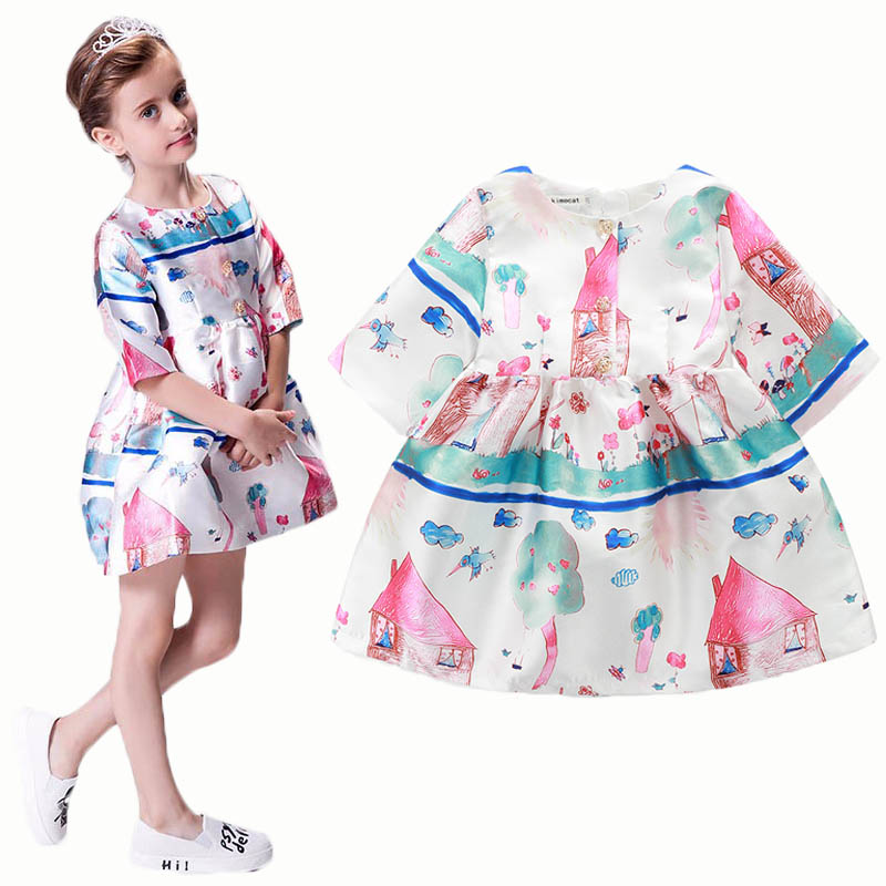 Spring&Summer baby girls cartoon dress kids cloth body children a-line dress European princess style print pattern dresses