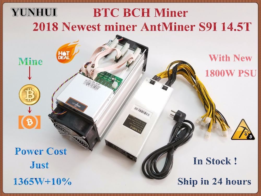 2018 Newest AntMiner S9i 14.5T With 1800W PSU Asic SHA-256 Bitcoin Miner Btc BCH Miner Better Than Antminer S9 S9i 13T 13.5T 14T spot goods antminer s5 1155 gh s asic miner bitcon miner 28nm btc mining sha 256 miner power consumption 590w