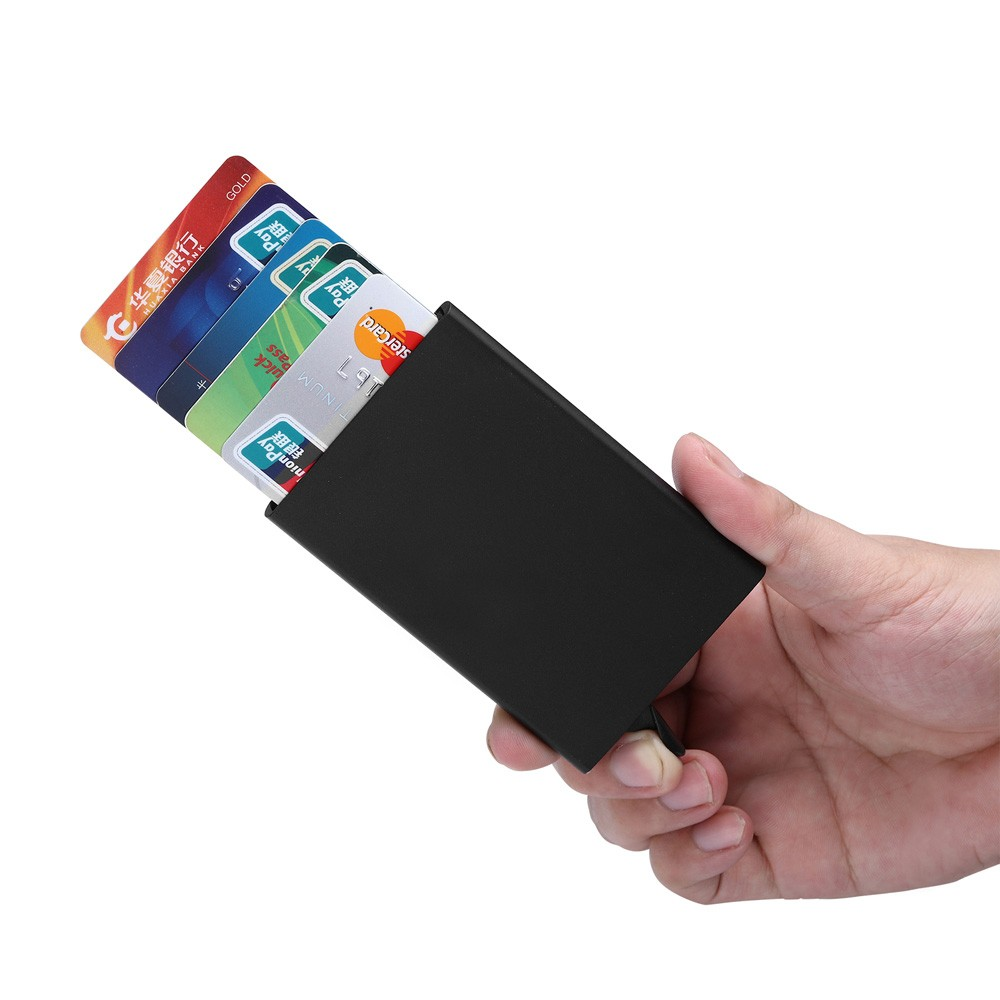 Automatic Credit ID Card Holder For Man Women Aluminum Pop Up Brocking Card Wallet Travel Case Metal Anti Protection Cardholder