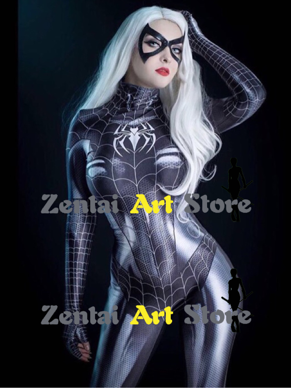 High Quality Black Cat Venom Symbiote Female Cosplay Costume Spandex Woman Superhero Spiderman Costume Custom made Available