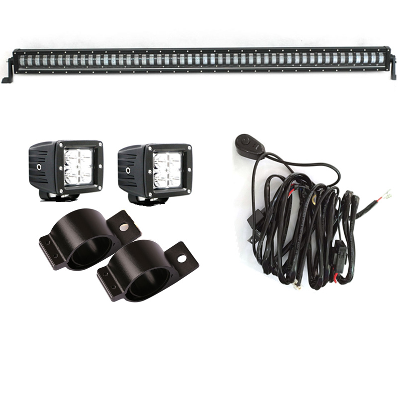 Marloo 1 set 50 Inch 384W Single Row LED Car Light OffRoad Bar ,2PCS 20W LED Spot Work Lights ,1 set 2.5inch bracket For Jeep