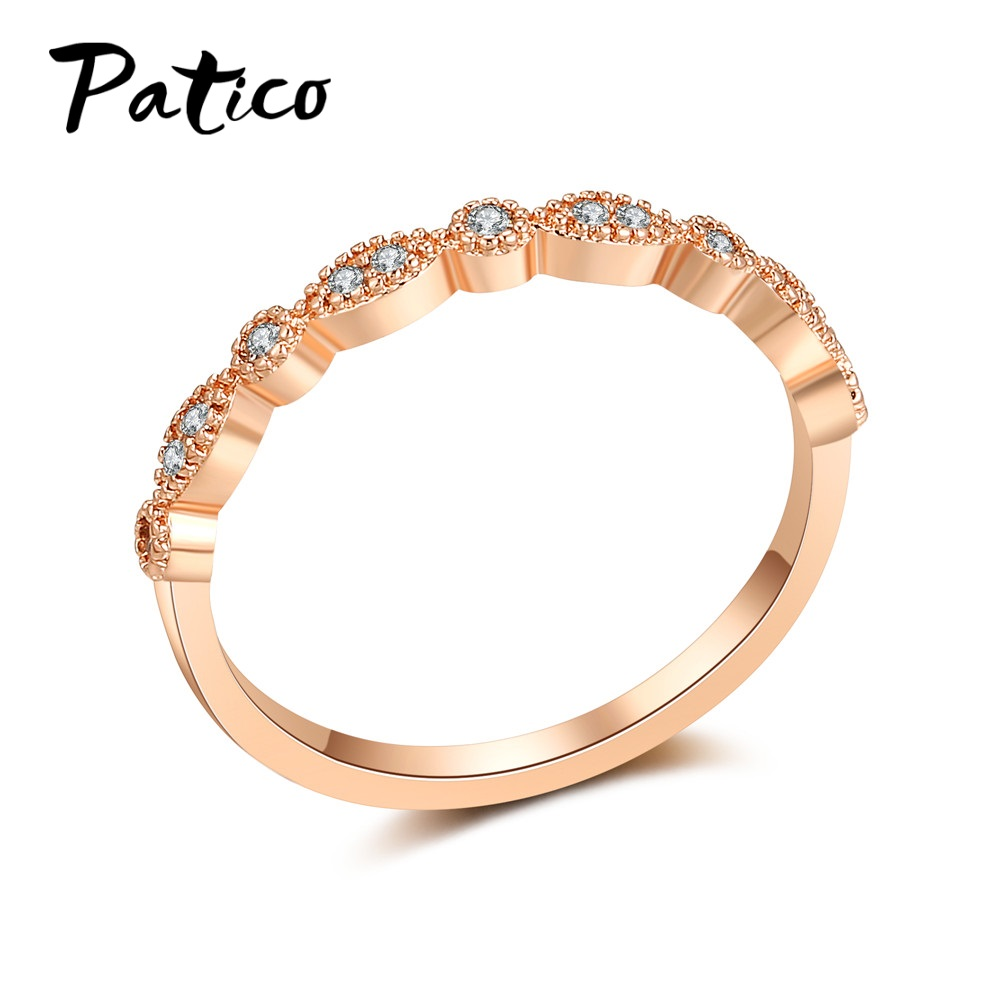Aliexpress.com : Buy PATICO Lady Style White CZ Rings Rose ...