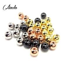 Aiovlo нержавеющая сталь 3 4 5 6 8 мм розовое золото черный Серебряный бусины-разделители подвеска свободные бусины DIY браслеты бусины для изготовления ювелирных изделий