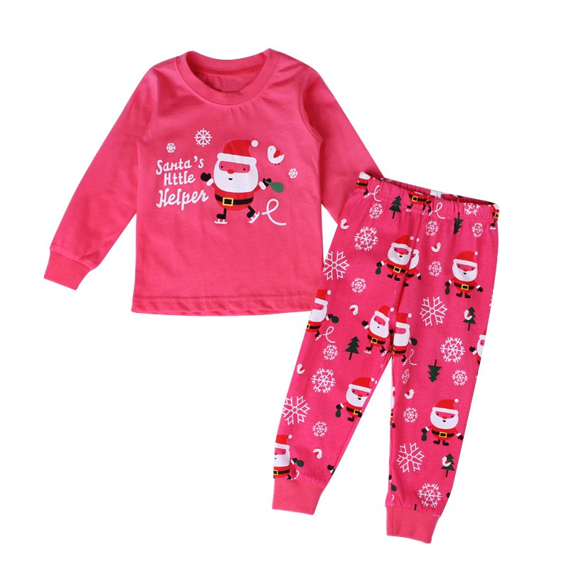 Kids Girls Pajamas Outfit Set Christmas Cosumes Cotton Long Sleeve Top+Pants Clothing
