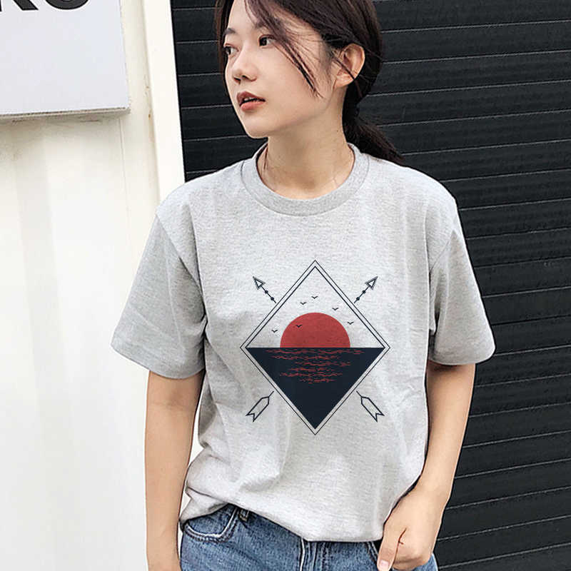Summer new female fashion cartoon sunrise printing letter universe faith Harajuku casual short-sleeved T-shirt
