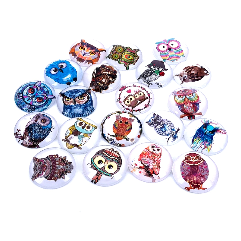 40pcs/lot 10mm 12mm 14mm 16mm Colorfull Owl Pattern Round Glass Cabochon Dome For DIY Jewelry Making Findings & Components T024