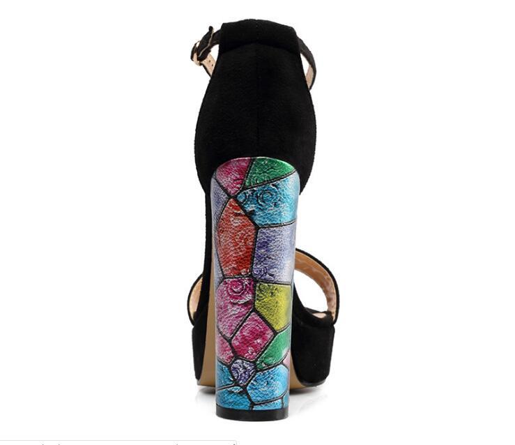 Ms/Лидер продаж; пикантные однотонные замшевые босоножки на квадратном каблуке с очень высоким задним ремешком и открытым носком; черные туфли на высоком квадратном каблуке с ремешком на щиколотке - 4
