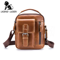 LAOSHIZI New Arrival Genuine Leather Men's Messenger Bag Vintage Zipper Shoulder Bag For Men Casual Cross Body Bags iPad Holder