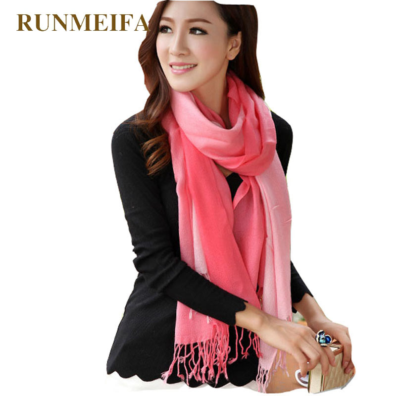 RUNMEIFA 2019 Women Silk Scarf Gradient Solid Color Winter Warm Fashion Shawl Tassel Scarves For Women Bufandas Invierno Mujer