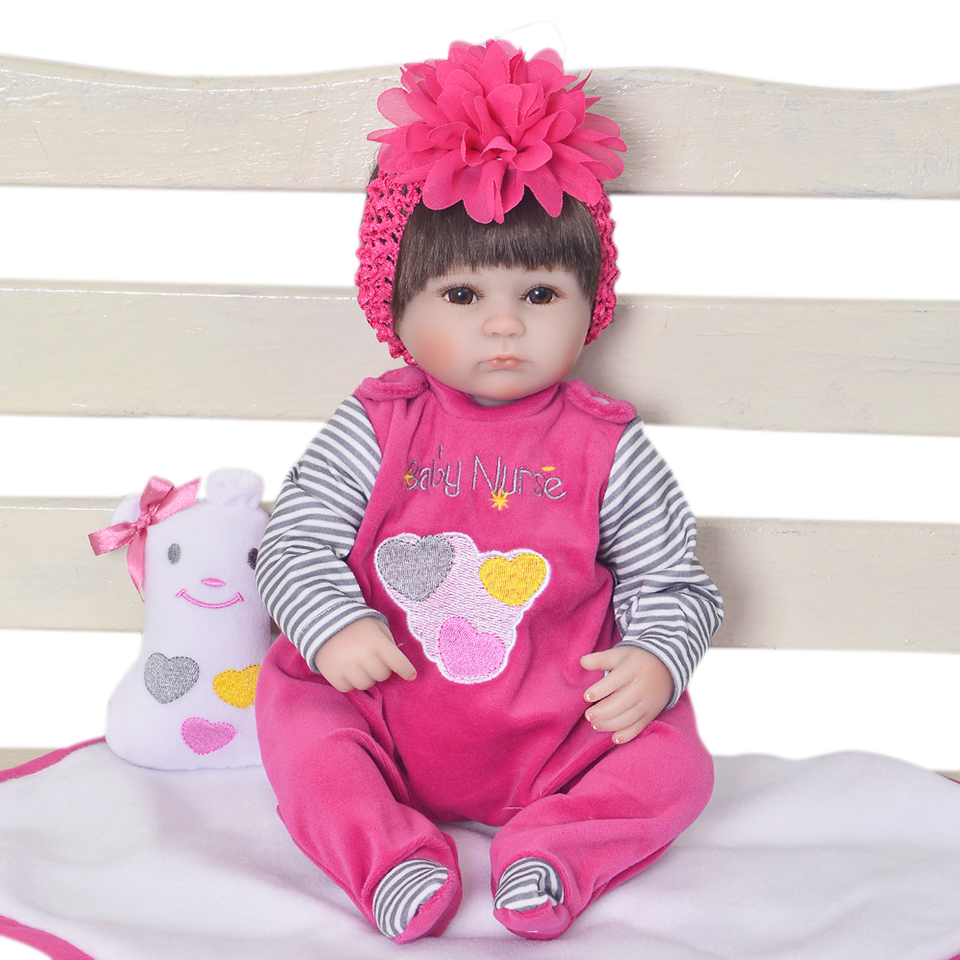 2016 New Style 17 Inch Silicone Babies Alive Soft Toys Reborn Baby Doll Kids Playmate Gift For Girls Bouquets Kids Birthday Gift