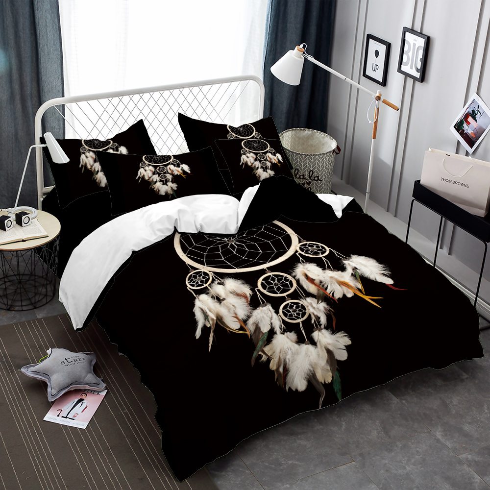 Bohemia Bedding Set Dreamcatcher Print Duvet Cover Set Feather Print Bed Cover Pillowcase Black Bedclothes Home Decor D35