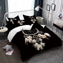 Bohemia Bedding Set Dreamcatcher Print Duvet Cover Set Feather Print Bed Cover Pillowcase Black Bedclothes Home Decor D35 недорого