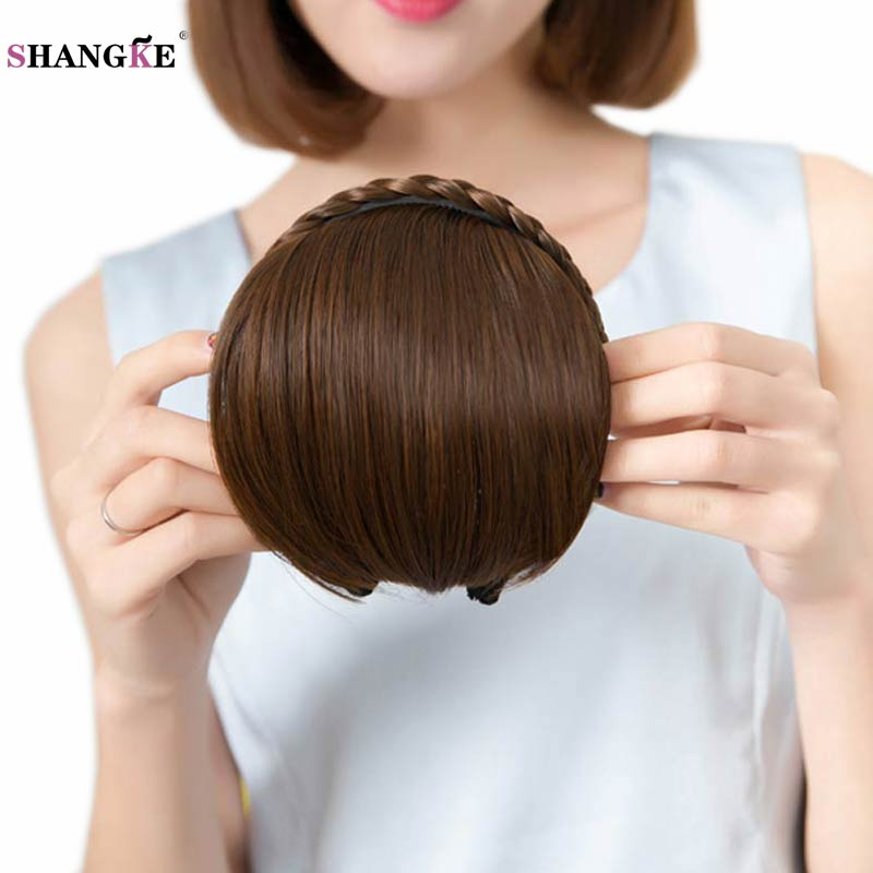 SHANGKE Short Braid Blunt Bangs Natural Tidy Hairpieces Heats