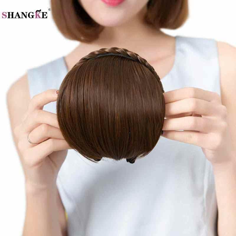 SHANGKE krótki warkocz Blunt Bangs naturalne Tidy treski żaroodporne syntetyczne kobiety włosy 2 style dostępne naturalne sztuczne włosy