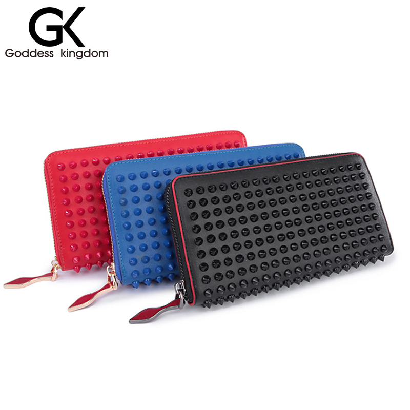 ФОТО GODDESS New color rock stud women genuine leather wallet high chic brand design lady standard wallets easy clutch hand bagM2322
