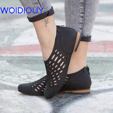 Women Sandals Hollow out Gladiator Casual Summer Shoes Cutout Flat Plus Size 35-43 Beach Oxfords