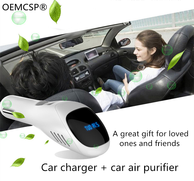 Car Quick Charger Vehicle Air Purifier 12V Auto Car Fresh Air Anion Ionic Purifier Oxygen Bar Ozone Ionizer Cleaner Portable USB