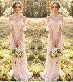 Сексуальная Boho Платья Невесты Длиннее Шифоновое Спинки Бретельках Плюс Размер Горничной Честь Платье Дешевые Свадебное Ветра Платье