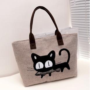 новый женщины сумочка мода свободного покроя женская тканые холщовый мешок милый кот сумка офис леди обед сумка