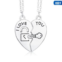 2 PCs/Set Couple Necklace for Women and Men Two Pieces of Heart Pendant Paired Key Lock Rope Necklace for Valentine's Day(China)