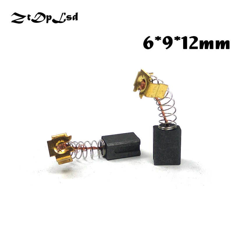 ZtDpLsd 2 Pcs/Pairs 6x9x12mm Mini Drill Electric Grinder Replacement Carbon Brushes Spare Parts For Electric Rotary Tool