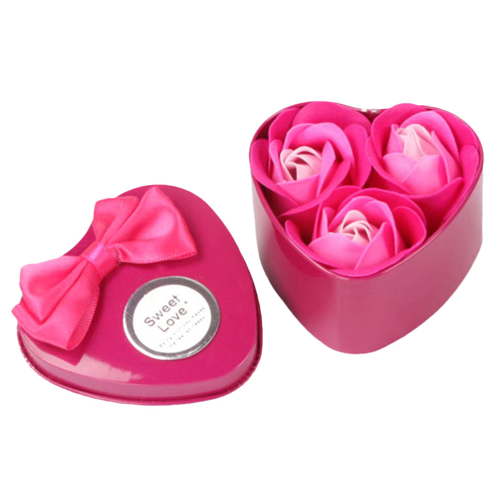 3Pcs beautiful Heart Scented Bath Body Petal Rose Flower Soap ...
