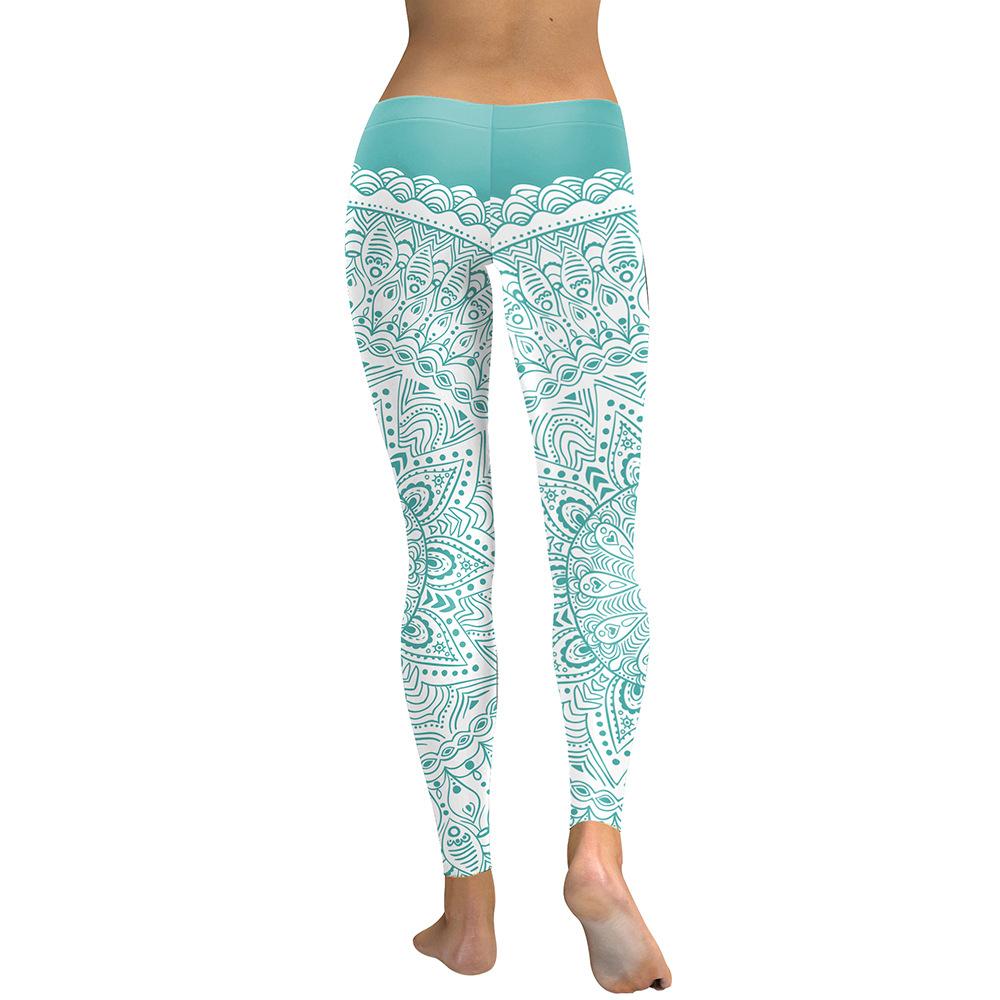 ee03ecdd5fa1a ... Mint Green Art Mandala Leggings Low waist band Sporty Pants Gym  compression ankle pants (2 ...