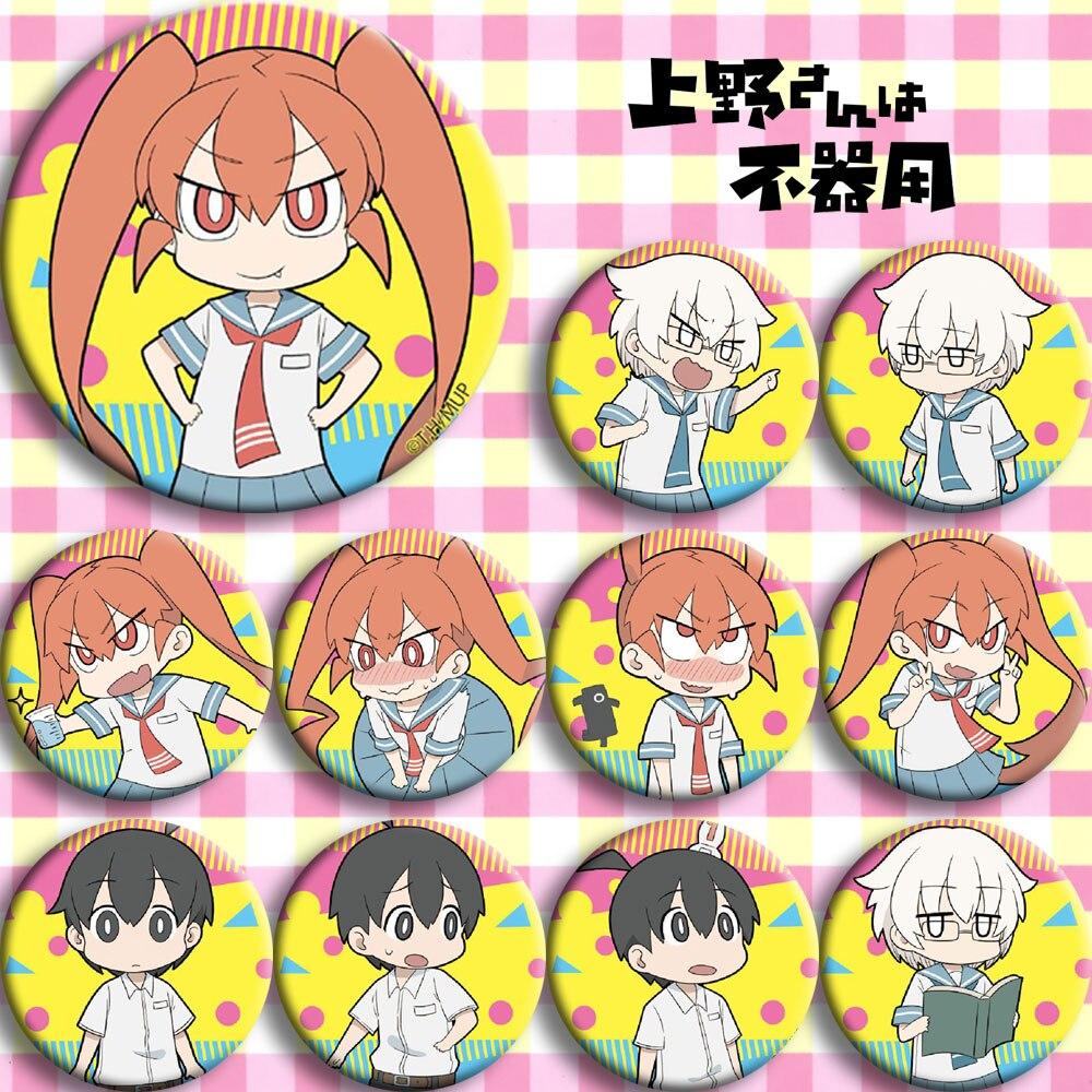Anime Ueno-san Wa Bukiyou Ueno Tanaka Yamashita Cosplay Bedge Cartoon Collect Bag Badge For Backpack Button Brooch Pin Xmas Gift