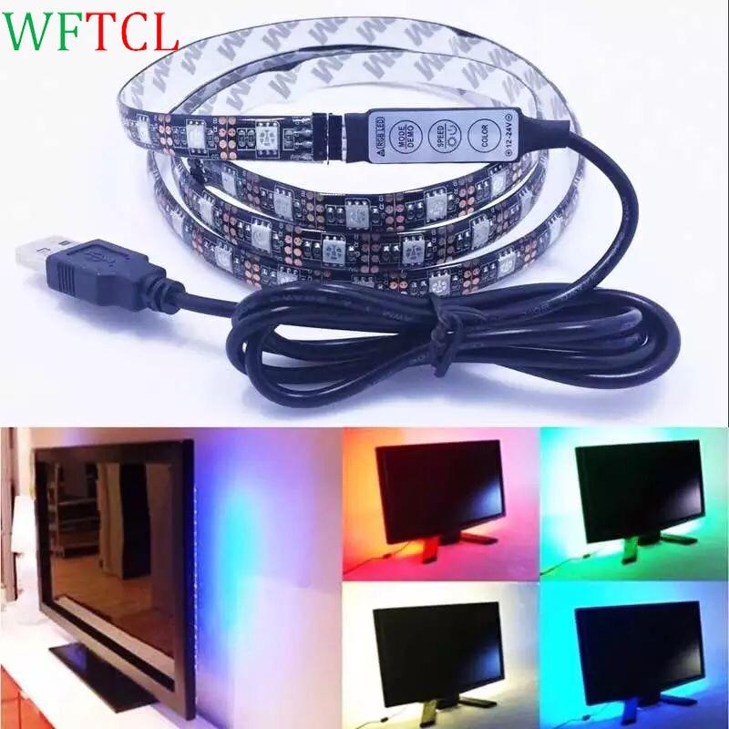 WFTCL DC5V 1M SMD 5050 USB LED Strip Light 30LEDsm IP65 Waterproof RGB Flexible led tape ribbon TV Background Light