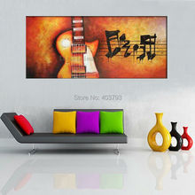 buy at disscount price Modern Abstract  Oil Painting on canvas 3P LARGE Rock music & Fire Guitar (no framed) free shipping