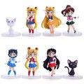 Free Shipping Anime Cartoon Cute Sailor Moon Sailor Mars Sailor Mercury Luna Q Version Action Figure Toys Dolls 4pcs/set I26