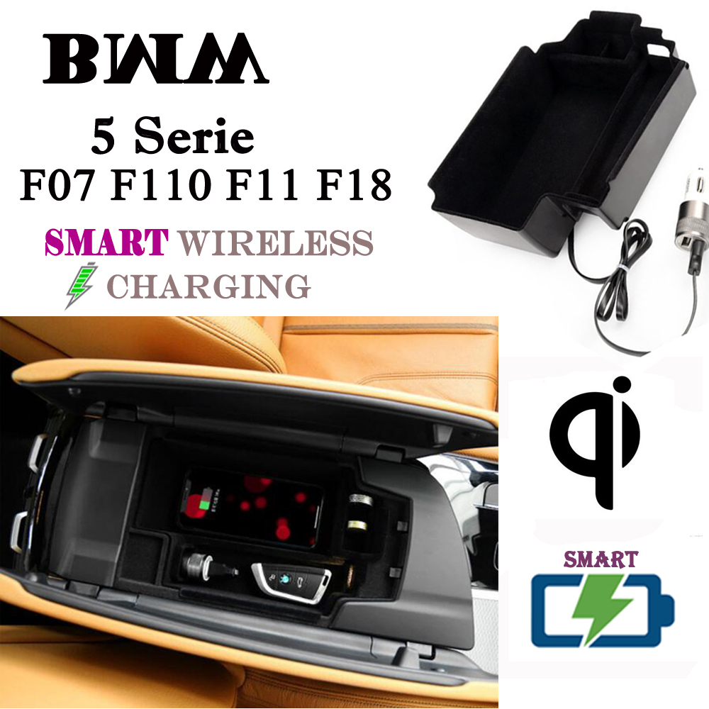 For BMW <font><b>5</b></font> Series QI Wireless charger Hidden Smart Wireless charging Phone Holder Storage Box for F07 F110 F11 F18 image
