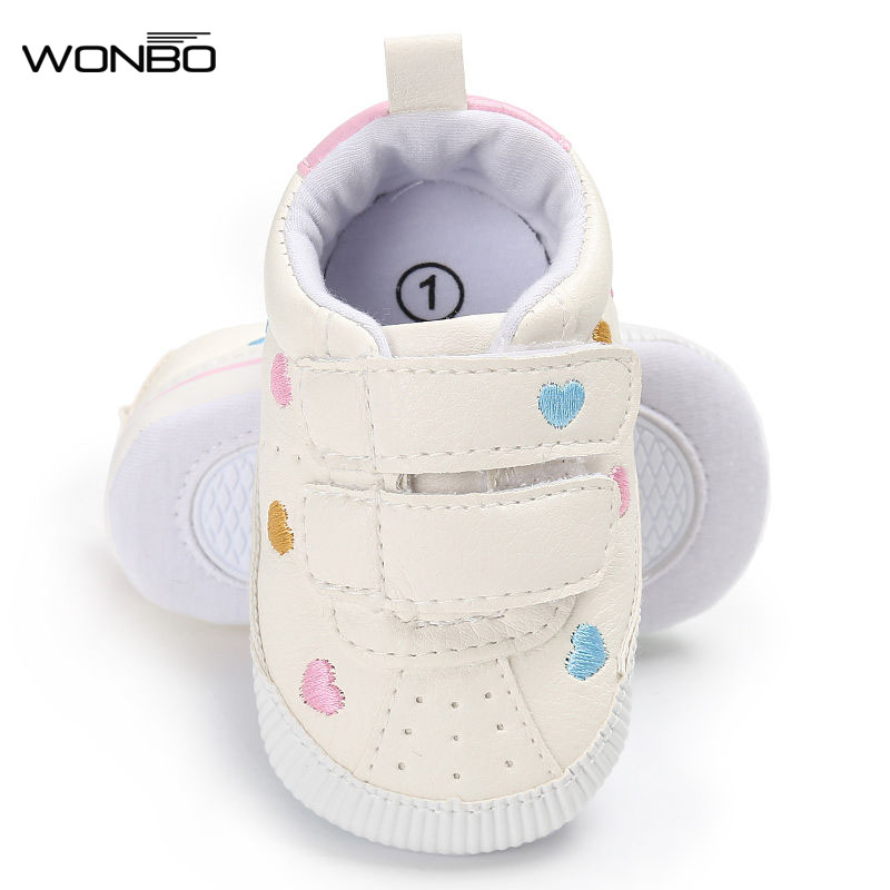 New Arrival Embroidery First Walkers Sneakers Rubber Soled Non-slip Crib Shoes Girls Boys PU Leather Cute Hot Sale Baby Shoes