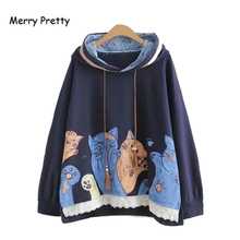 Merry Pretty Women Cartoon Cat Print Hooded Sweatshirts 2019 Winter Long Sleeve Drawstring Hoodies Harajuku Pullover