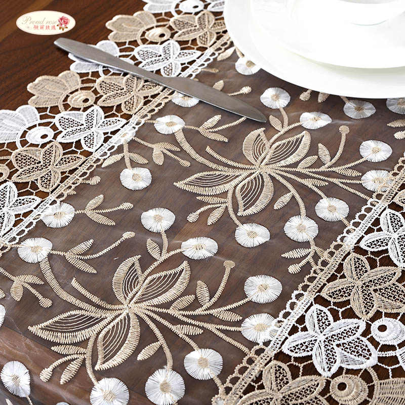 Proud Rose Lace Embroidery Table Runner TV Cabinet Cover Cloth Tea Table Flag Pastoral Table Cloth Wedding Table Decoration
