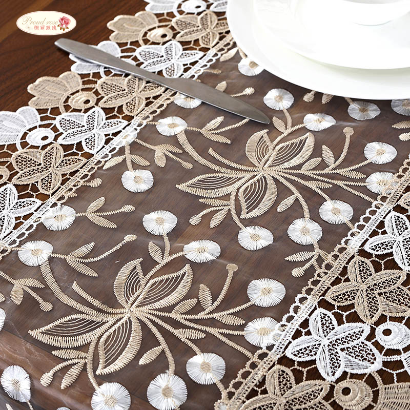 Orgulho rosa laço bordado corredor de mesa tv gabinete capa pano chá bandeira pastoral mesa pano casamento decoração da mesa