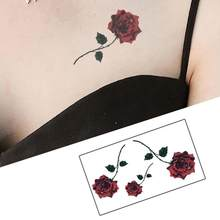 Red Color Rose Blossom Flower Brand New Fashion Waterproof Temporary Tattoo Sticker Tatoo Tatto Men Women Flash Fake Henna(China)