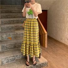 YICIYA Harajuku Yellow Ruffle Pleated Checkered Long Skirts Korean Vintage Style High Waist Plaid Elastic Skirt Womens