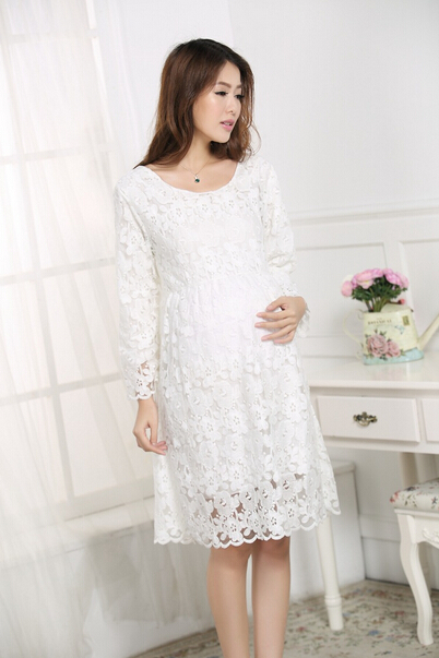 Free shipping 2016 New Fashion Lace Dress for Pregnant Women Long Sleeve Maternity Dress for Pregnancy