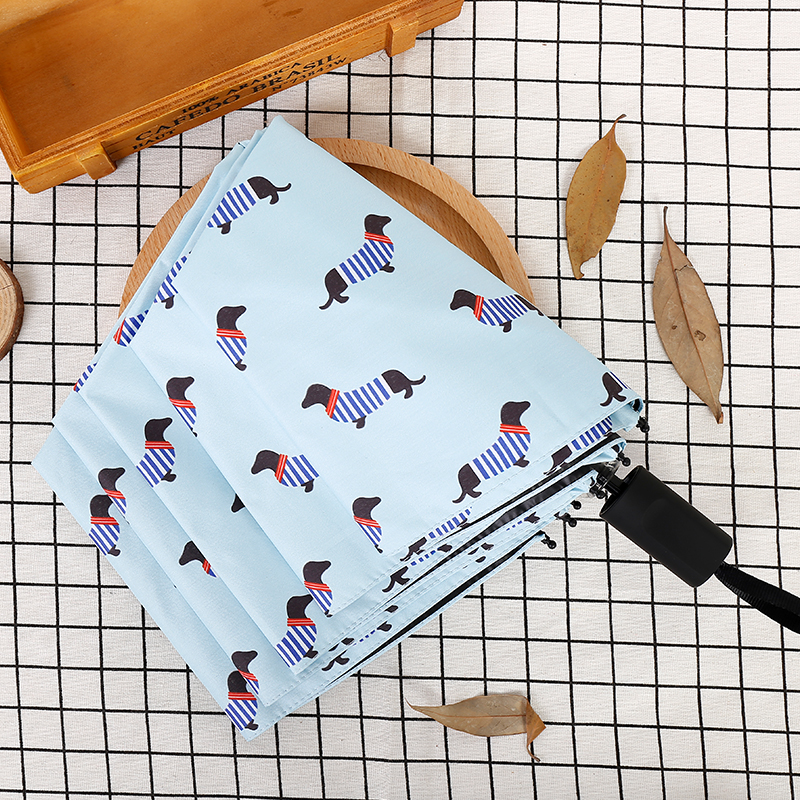 DINIWELL Striped Dog Umbrella Sunny Rainy Pink Umbrellas Women Pocket Umbrella Three Folding Fresh Party Streak Dogs Parasols