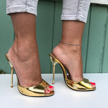 цена SURU Gold Open Toe High Heels Pumps Women Sexy 13cm Stilettos Sandals онлайн в 2017 году