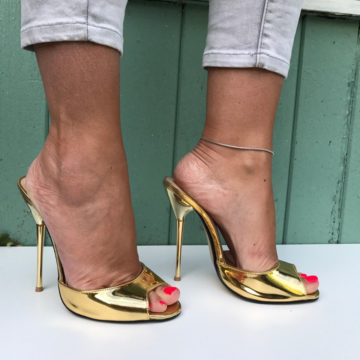 SURU Gold Open Toe High Heels Pumps Women Sexy 13cm Stilettos Sandals