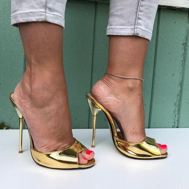 be506fc6b6d22 SURU or bout ouvert talons hauts escarpins femmes Sexy 13 cm talons  aiguilles sandales